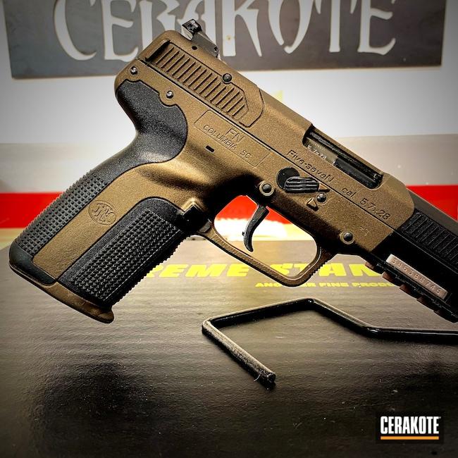 Cerakoted: S.H.O.T,FN Mfg.,Conceal Carry,Bronze,5.7x28,Black,Burnt Bronze H-148,Pistol,FN