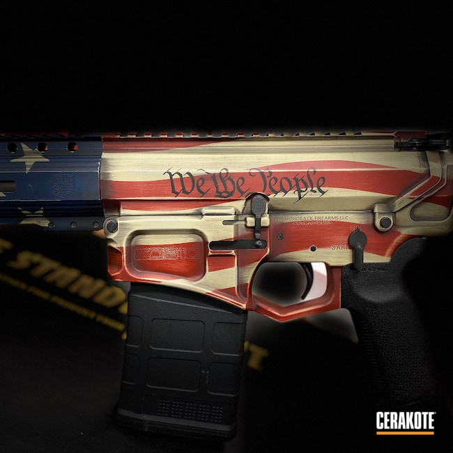 Cerakoted: S.H.O.T,Cerakote,Diamondback,Distressed,Crimson H-221,American Flag,.223,5.56,Gen II Graphite Black HIR-146,America,KEL-TEC® NAVY BLUE H-127,BENELLI® SAND H-143,We the people,Stars and Stripes,src
