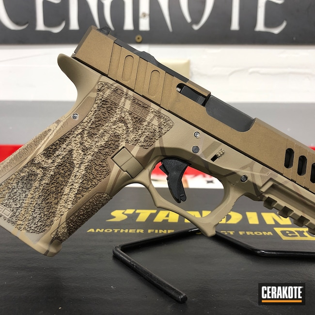 Cerakoted: S.H.O.T,Custom Mix,Conceal Carry,Cerakote,Pistol,Handgun,9mm,Kryptek,Graphite Black H-146,Desert Sand H-199,DESERT VERDE H-256,Patriot Brown H-226,BATTLESHIP GREY H-213,GLOCK® FDE H-261,src,Glock 19X