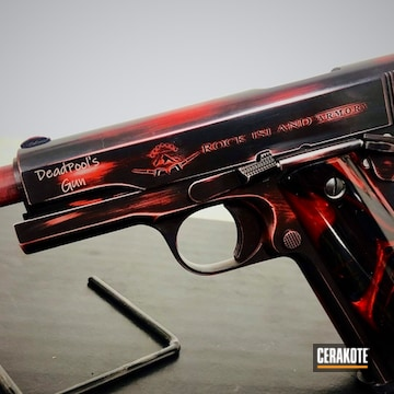 Rock Island Armory 1911 Cerakoted Using Armor Black And Usmc Red