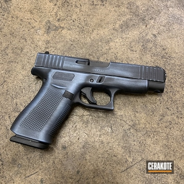 Distressed Glock 48 Cerakoted Using Armor Black And Polar Blue