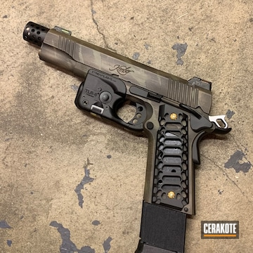 Kimber 1911 Cerakoted Using Armor Black, Multicam® Light Green And Magpul® Fde
