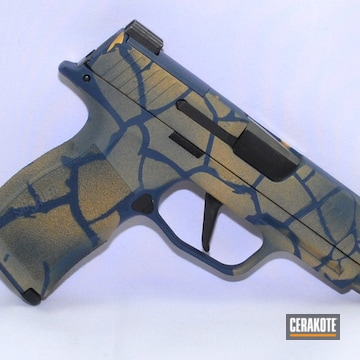 Sig P365 Cerakoted Using Nra Blue, Gold And Gen Ii Graphite Black