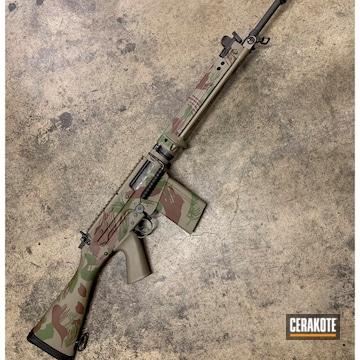 Custom Camo Fal Cerakoted Using Multicam® Dark Brown, Multicam® Light Green And Magpul® Fde