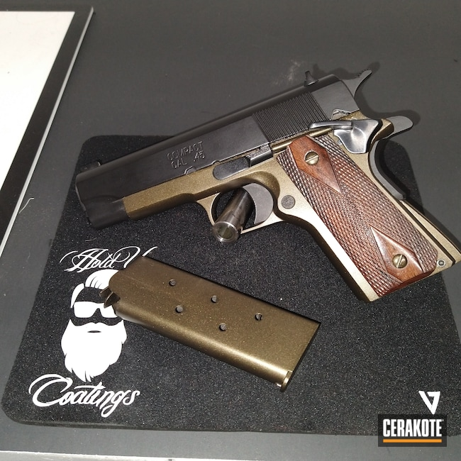 Cerakoted: S.H.O.T,.45,Springfield 1911,Armor Black H-190,1911,Midnight Bronze H-294