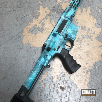 Palmetto State Armory Ar Cerakoted Using Tactical Grey, Aztec Teal And Robin's Egg Blue