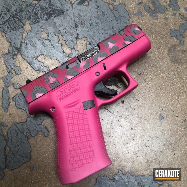 Cerakoted: S.H.O.T,Glock 43X,Two-Color Fade,SIG™ PINK H-224,Pistol,Tactical Grey H-227,Bazooka Pink H-244,Sedona H-333,Cheetah Print,Pink Cheetah,Glock,Fade,Handguns