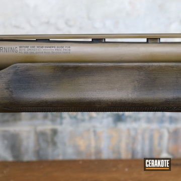 Shotgun Cerakoted Using A.i. Dark Earth, M17 Coyote Tan And Graphite Black