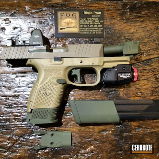 Cerakoted: 9mm,Conceal Carry,Mil Spec O.D. Green H-240,Pistol,FN 509,FN