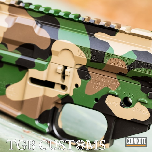 Cerakoted: S.H.O.T,Highland Green H-200,Woodland Camo Pattern,MAGPUL® FLAT DARK EARTH H-267,AR15 Builders Kit,Woodland Camo,Armor Black H-190,Chocolate Brown H-258,AR-15
