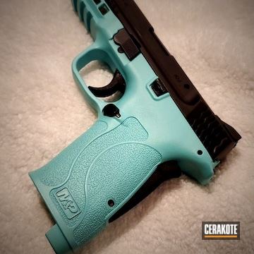 Smith & Wesson M&p Grip Cerakoted Using Robin's Egg Blue