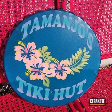 Custom Metal Sign Cerakoted Using Bazooka Pink, Squatch Green And Sunflower