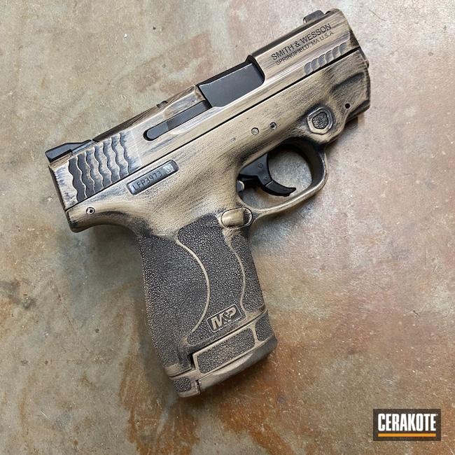 Cerakoted: S.H.O.T,9mm,Battleworn,Graphite Black H-146,Desert Sand H-199,Smith & Wesson,Holster,Pistol,Magazine,M&P Shield