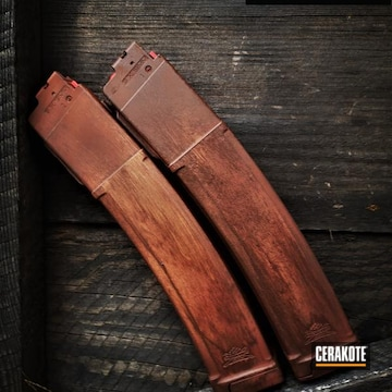 Woodgrain Themed Mags Cerakoted Using Multicam® Dark Brown, Benelli® Sand And Ral 8000