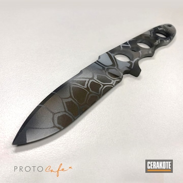 Kryptek Knife Cerakoted Using Bright White, Sniper Grey And Burnt Bronze