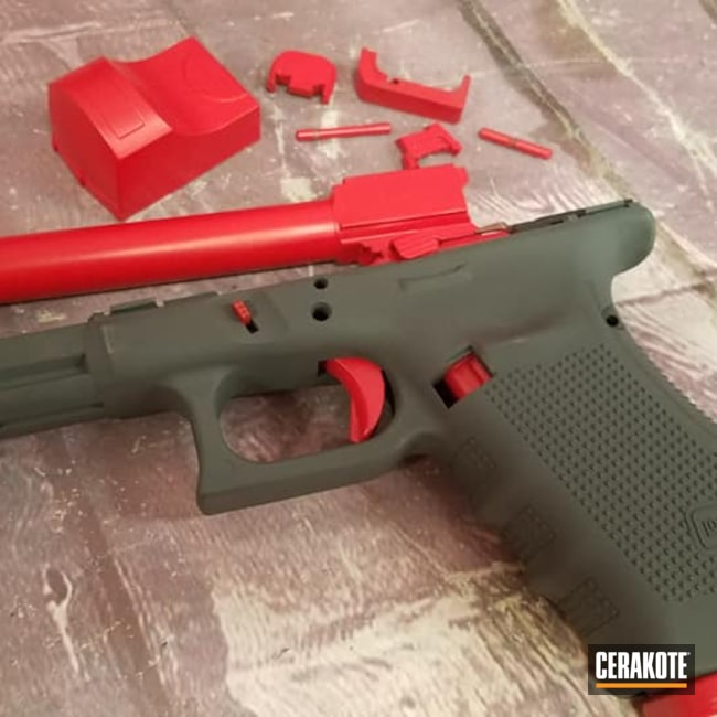 Cerakoted: S.H.O.T,SPRINGFIELD® GREY H-304,Frame,Barrel,USMC Red H-167,Glock,Gun Parts,Glock 40,Handgun