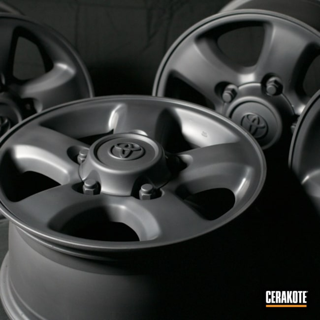 Toyota Wheels Cerakoted Using Sniper Grey