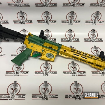Green Bay Packers Themed Ar Cerakoted Using Squatch Green And Sunflower