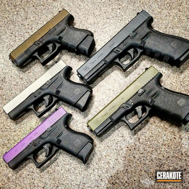 Cerakoted: S.H.O.T,Sniper Grey H-234,Sniper Green H-229,Bright Purple H-217,Stainless H-152,Burnt Bronze H-148,Glock