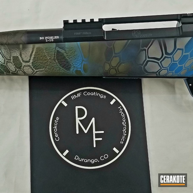 Cerakoted: S.H.O.T,Snow White H-136,Graphite Black H-146,RMP Rifles,Custom Engraving,30 Nosler,Kryptek Neptune,Blue Titanium H-185