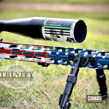 United States Flag Ruger Precision Rifle Cerakoted Using Hidden White, Kel-tec® Navy Blue And Crimson