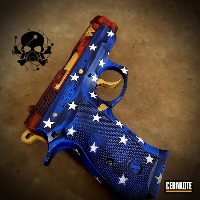 Cerakoted: S.H.O.T,9mm,NRA Blue H-171,Snow White H-136,Canik,USMC Red H-167,Gold H-122