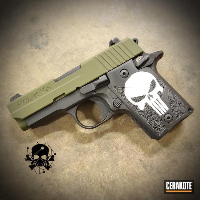 Cerakoted: S.H.O.T,Snow White H-136,Graphite Black H-146,Sig Sauer P238,EDC Pistol,.380,Sig,Carry Gun,Mil Spec Green H-264,Handgun