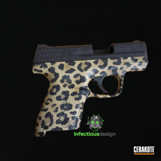 Cerakoted: S.H.O.T,Conceal Carry,Coyote Tan H-235,Cheetah Print,Graphite Black H-146,Smith & Wesson,Cheetah,Handguns,Animal Print,Handgun