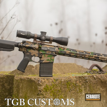 Woodland Camo Springfield Armory Saint Cerakoted Using Armor Black, Highland Green And Burnt Bronze