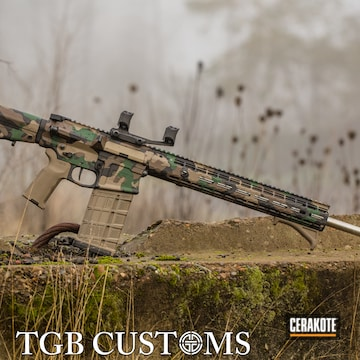 Woodland Camo Aero Precision Ar Build Cerakoted Using Armor Black, Highland Green And Chocolate Brown