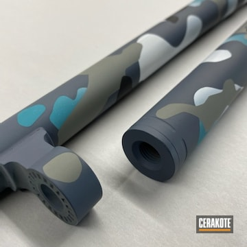 Custom Multicam Mossberg Shotgun Cerakoted Using Multicam® Dark Grey, Stormtrooper White And Aztec Teal