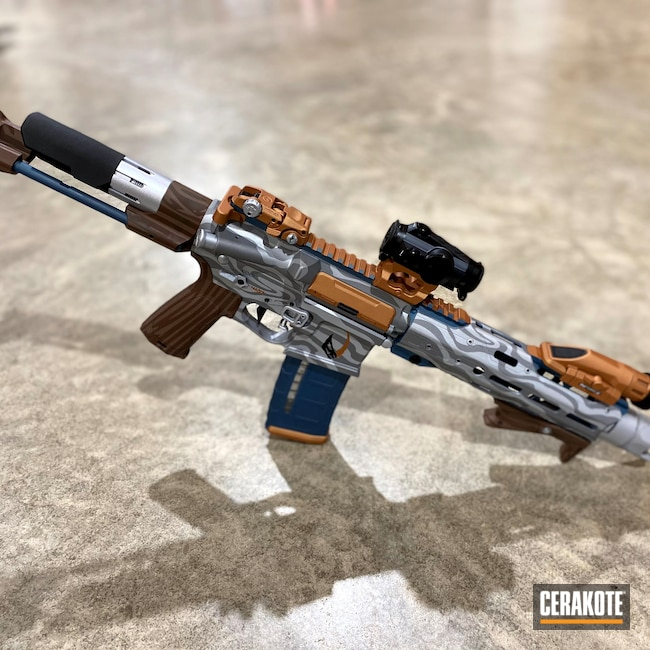 Cerakoted: S.H.O.T,Gun Slingers,Star Wars Theme,Strike Industries,Firearms,COPPER H-347,AR Pistol,HIGH GLOSS CERAMIC CLEAR MC-160,Star Wars AR-15,Patriot Brown H-226,Crushed Silver H-255,MULTICAM® DARK BROWN H-342,Mandalorian,80 Percent Build,Custom Coated Rifle,Custom Cerakote,AR-15,Star Wars,Blue Titanium H-185