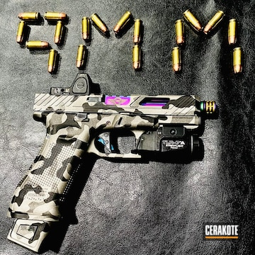 Urban Camo Glock Cerakoted Using Titanium, Graphite Black And Tungsten