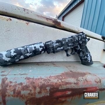 Sig Sauer And Suppressor Cerakoted Using Hidden White, Gun Metal Grey And Graphite Black