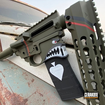 Ar Cerakoted Using Stormtrooper White, Usmc Red And O.d. Green