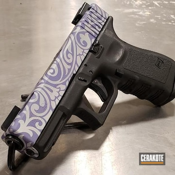 Glock 19 Cerakoted Using Crushed Silver And Crushed Orchid