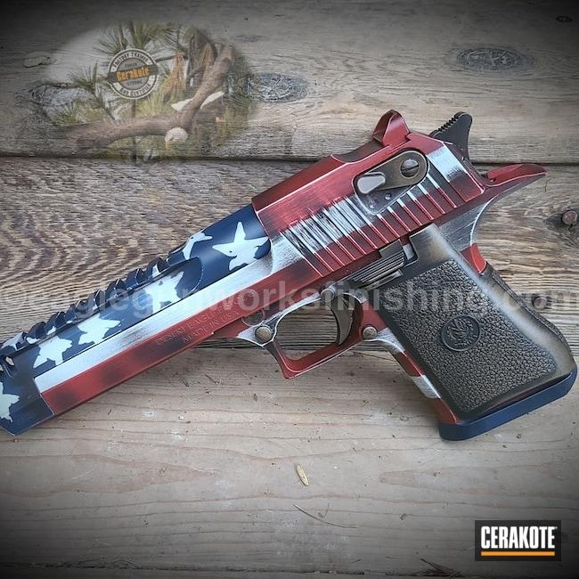 Cerakoted: S.H.O.T,Hidden White H-242,Desert Eagle,Battleworn,Graphite Black H-146,50ae,Distressed Flag,Crimson H-221,Burnt Bronze H-148,Pistol,KEL-TEC® NAVY BLUE H-127,Semi-Auto
