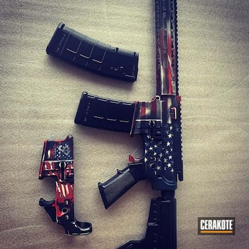 United States Flag Ar Cerakoted Using Kel-tec® Navy Blue, Armor Black And Snow White