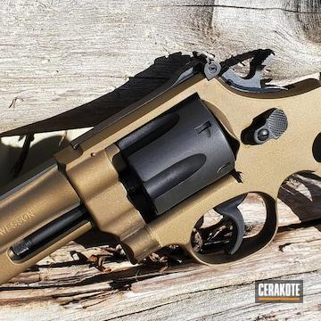 Smith & Wesson Revolver Cerakoted Using Graphite Black And Burnt Bronze