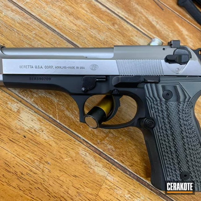 Cerakoted: S.H.O.T,9mm,Beretta92,Simple,One Color,Graphite Black H-146,Clean,Pistol,Beretta
