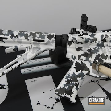 Digital Camo Ar Build Cerakoted Using Armor Black, Snow White And Frost