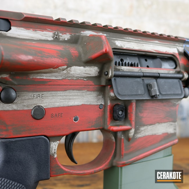 Cerakoted: S.H.O.T,NRA Blue H-171,FIREHOUSE RED H-216,Graphite Black H-146,AR,Distressed American Flag,Firearm,FROST H-312,American Flag,A.I. Dark Earth H-250,AR-15