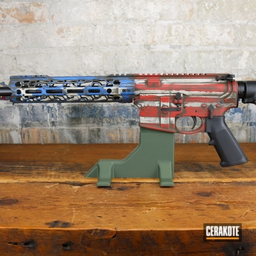 Battleworn American Flag Ar Cerakoted Using Frost, A.i. Dark Earth And Nra Blue
