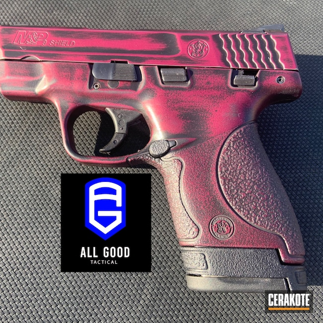 Cerakoted: S.H.O.T,M&P,BLACK CHERRY H-319,Distressed,Shield,Pistol,S&W,Subcompact,9mm,Compact,Battleworn,Smith & Wesson,M&P Shield