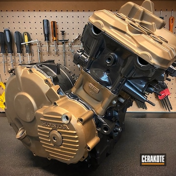Honda Motorcycle Motor Cerakoted Using Burnt Bronze And Cerakote Glacier Black