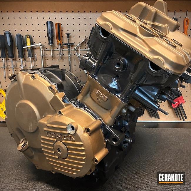 Cerakoted: Motor,Burnt Bronze C-148,Automotive,CERAKOTE GLACIER BLACK C-7600,Honda,Motorcycle