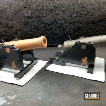 Miniature Golf Ball Cannons Cerakoted Using Midnight Bronze, Gloss Black And Copper