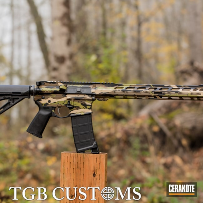 Vietnam Tiger Stripe Camo Ar Cerakoted Using Noveske Bazooka Green, Armor Black And Desert Sand