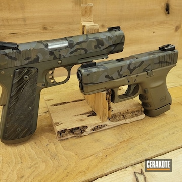 Urban Multicam Glock And 1911 Cerakoted Using Cobalt Kinetics™ Green, Graphite Black And Tungsten