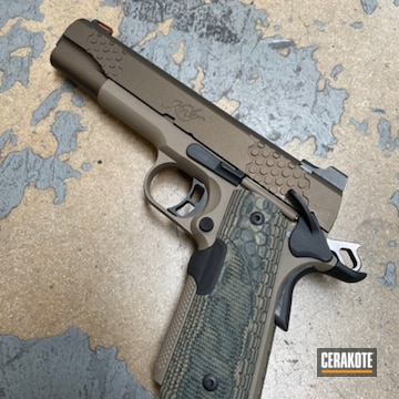 Kimber 1911 Cerakoted Using Midnight Bronze And Flat Dark Earth